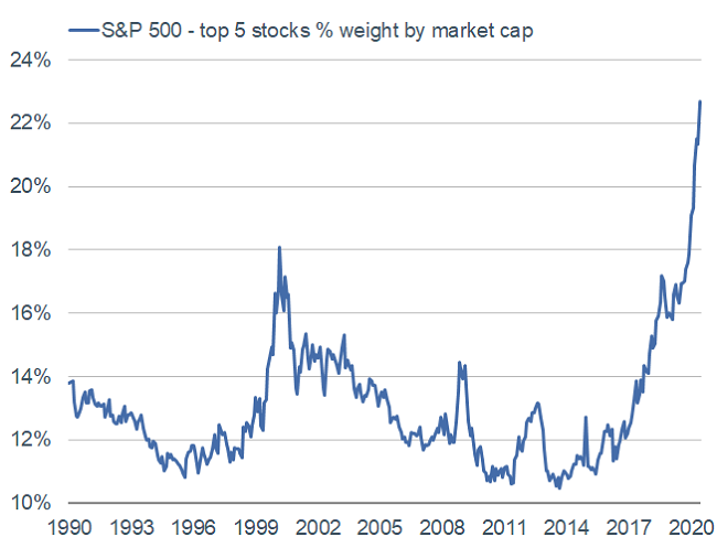 top 5 stocks weight of S&P 500